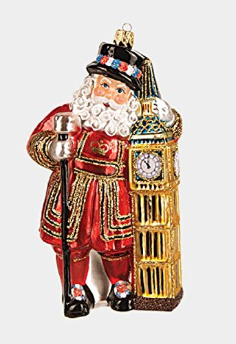 London Beefeater Guard Santa and Big Ben Polish Glass Christmas Ornament England