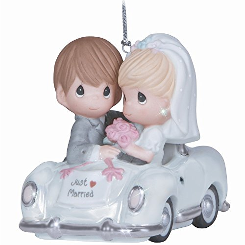 Precious Moments Wedding Figurine with Westbraid Doily (Just Married Ornament)