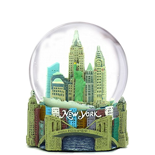 Mini New York City Snow Globe NYC Skyline in this Souvenir Figurine with Statue of Liberty, 2.5″ Tall (45mm)
