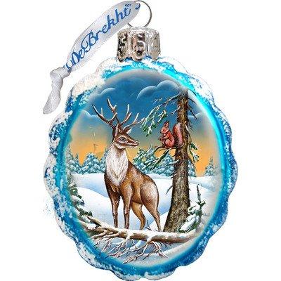 G. Debrekht Deer & Friend Glass Ornament