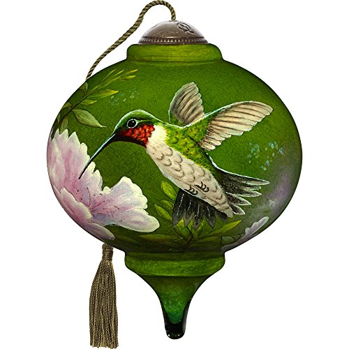Precious Moments, Ne'Qwa Art 7171167 Hand Painted Blown Glass Petitie Marquis Shaped Hummingbird Ornament, 3-inches