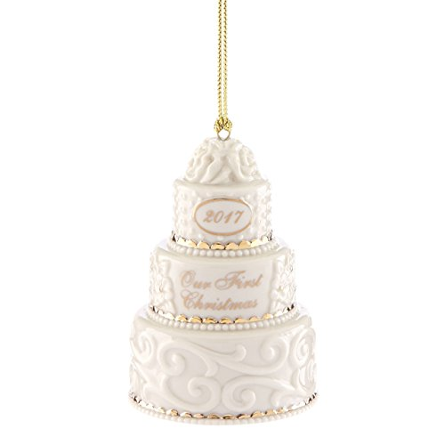 Lenox 870656  Annual China Ornaments 2017 Our 1st Christmas Together Cake