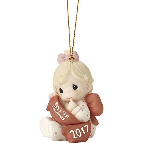 Precious Moments Baby's First Christmas 2017 Dated Girl Bisque Porcelain Ornament 171005