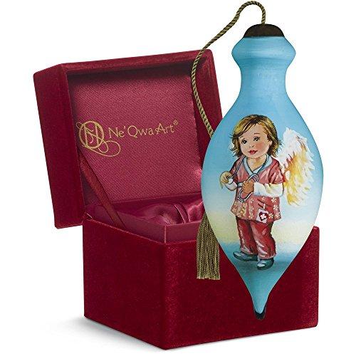 "Ne'Qwa Art, Thank You Gifts, ""Nurses Have Heart"" Artist Dona Gelsinger, Petite Brilliant-Shaped Glass Ornament, #7161125"