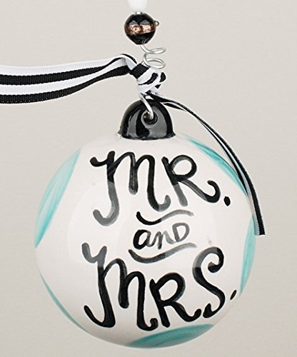 Mr and Mrs Christmas Ornament – 4.5″ Ceramic Ball, Glory Haus
