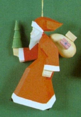 Carved Santa German Wood Christmas Tree Ornament