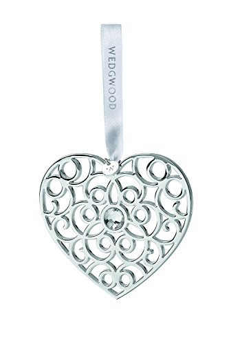Wedgwood Filigree Heart Christmas Ornament, Silver by Wedgwood