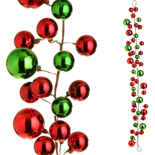 RAZ Imports – 4′ Red and Green Christmas Garland for Christmas Trees or Staircase