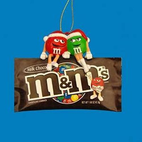Kurt Adler 3.5″ Red & Green M&ms Sitting on Bag Ornament
