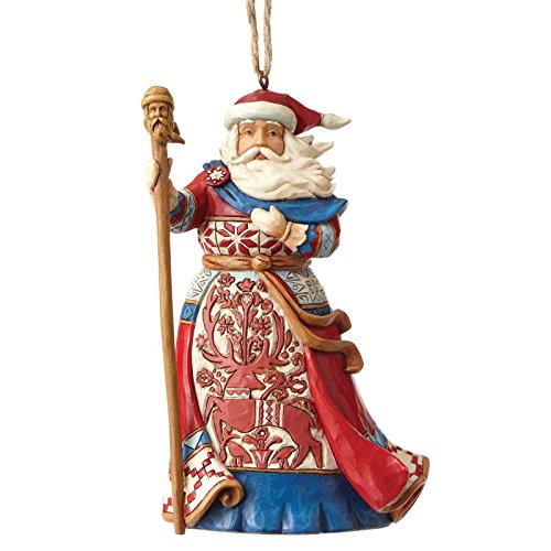 Enesco Jim Shore Heartwood Creek Lapland Red and Blue Santa Ornament