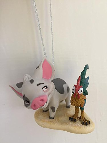 Disney Moana Pua And Heihei Pet Pig And Rooster Holiday Christmas Tree Ornament PVC Figure 2″ Figurine