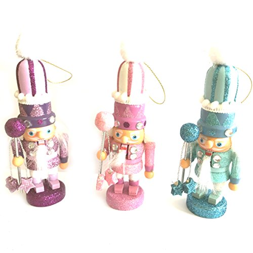 CDL 5.5″ Small Wooden Nutcracker Ornament Set of 3 /Nutcracker Figures S1S2S3
