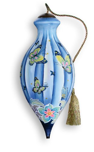 Butterflies Hand Painted Glass Ornament