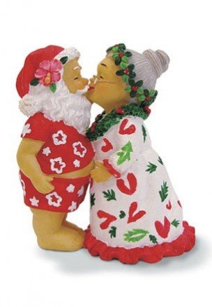 Hawaiian Kissing Santa Polyresin Ornament
