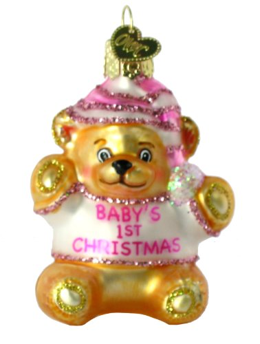 Old World Christmas Ornament Baby's First Teddy Bear Ornament – Pink for Girls