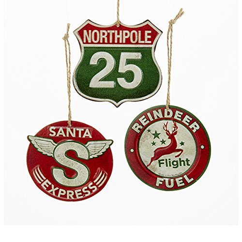 Kurt Adler 1 Set 3 Assorted Red And Green Sign Metal Christmas Ornaments