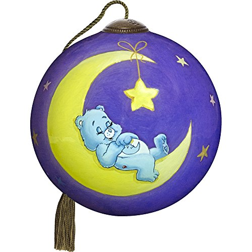 Precious Moments, Ne'Qwa Art 7171110 Hand Painted Blown Glass Petite Round Shaped I Love You To The Moon and Back Bedtime Care Bear Ornament, 2.5-inches