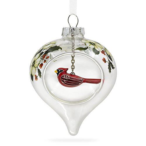 Hallmark Keepsake 2017 Winter Cardinal and Holly Glass and Metal Christmas Ornament