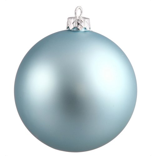 Vickerman Matte Finish Seamless Shatterproof Christmas Ball Ornament, UV Resistant with Drilled Cap, 8″, Baby Blue