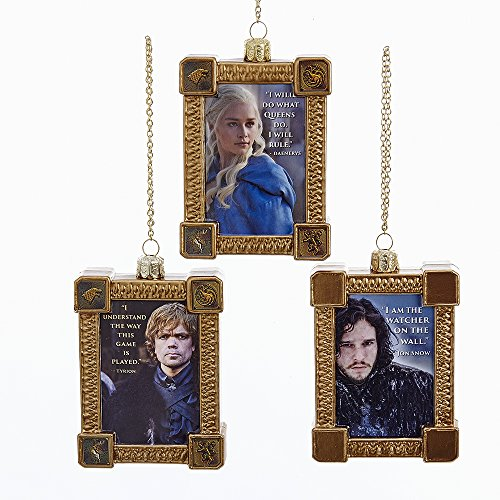 Kurt Adler 4.25″ Game Of Thrones Framed Character Glass Ornament, Assortment of 3