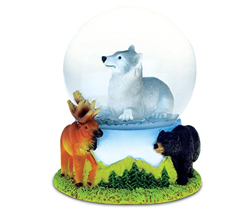Puzzled Wolf (65MM) Resin Stone Finish Snow Globe – Animal Theme – Unique Elegant Gift and Souvenir – Item #9486