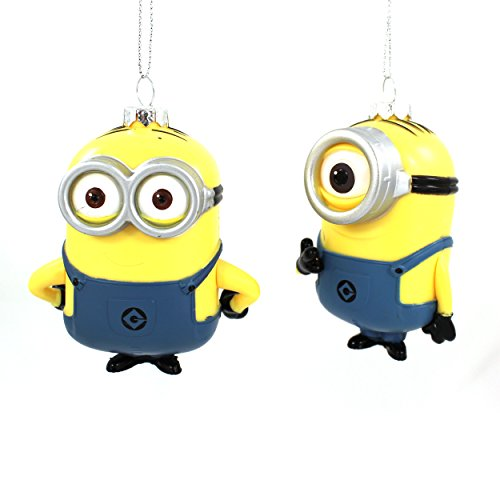 Despicable Me Minions Kurt Adler 2 peice Ornament Set Gift Boxed