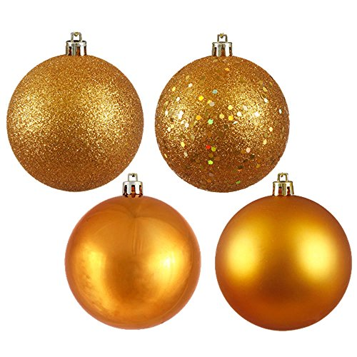 Vickerman Shatterproof Assorted Ball Ornaments Featuring Shiny, Matte, Sequin, and Glitter Finishes, 96 per Box, 1.6″, Antique Gold