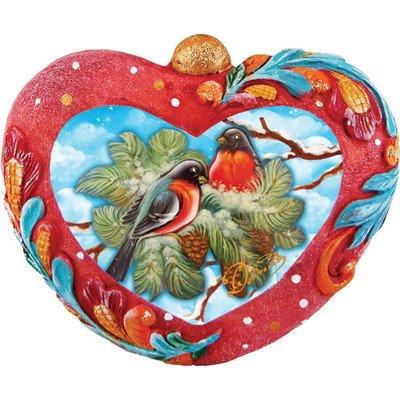 G. Debrekht Feathered Friends Birds Heart Ornament, 3.5″