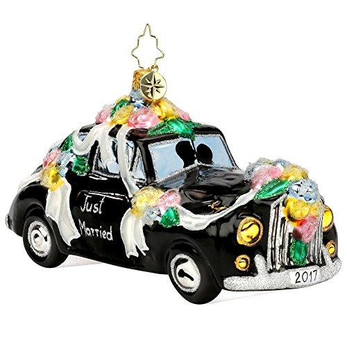 Christopher Radko 2017 Honeymoon Getaway Wedding Car Glass Christmas Ornament – Just Married