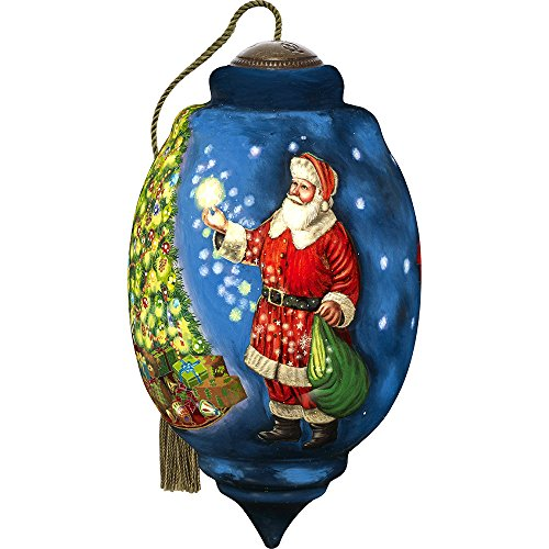 Precious Moments, Ne'Qwa Art 7171101 Hand Painted Blown Glass Santa Ornament Limited Edition Trillion Shaped Dated Christmas 2017, 6.75-inches