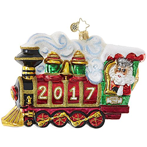 Christopher Radko 2017 All Aboard! Train Themed Santa Glass Christmas Ornament – 5″L.