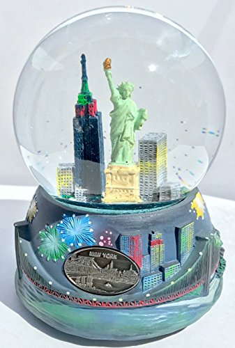 Musical New York NY Skyline Empire Statue of Liberty Fireworks Snow Globe Glitterdome 100MM