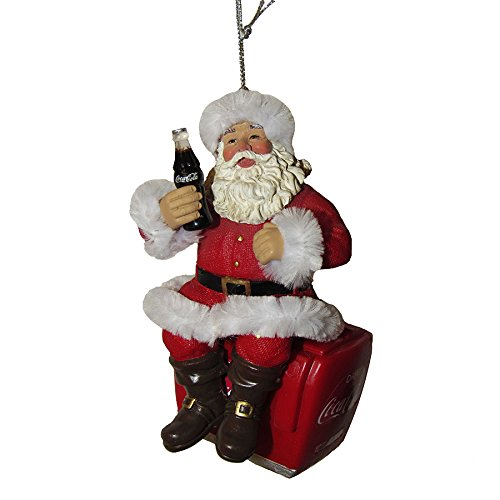 Kurt Adler 4″ Coke Santa On Cooler Ornament