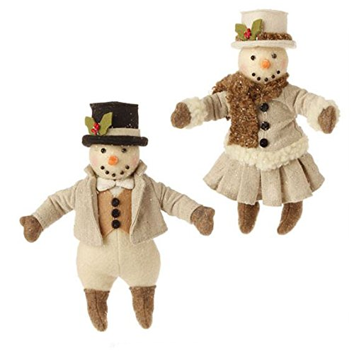 RAZ 7.5″ Cream Snowman Christmas Ornament Set of 2