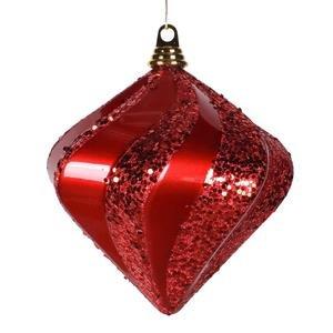 Vickerman 8″ Red Candy and Glitter Finish Swirl Diamond Christmas Ornament