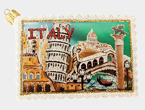 Italy Travel Postcard Polish Glass Christmas Tree Ornament Italian Decoration