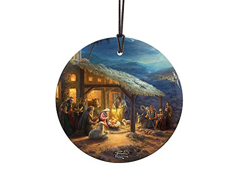 Thomas Kinkade The Nativity StarFire Prints Glass Ornament – Home and Christmas Tree Decoration