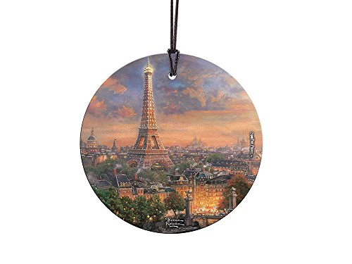 Thomas Kinkade Paris, city of Love StarFire Prints Glass Ornament – Home and Christmas Tree Decoration