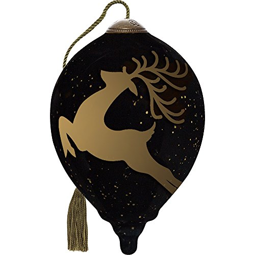 Precious Moments, Ne'Qwa Art 7171188 Hand Painted Blown Glass Petite Princess Shaped Rejoice Reindeer Ornament, 3-inches