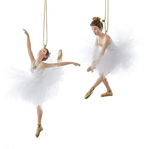 Kurt Adler 5.5″ White and Gold Ballet Ballerina Christmas Tree Ornaments, Ste of 2