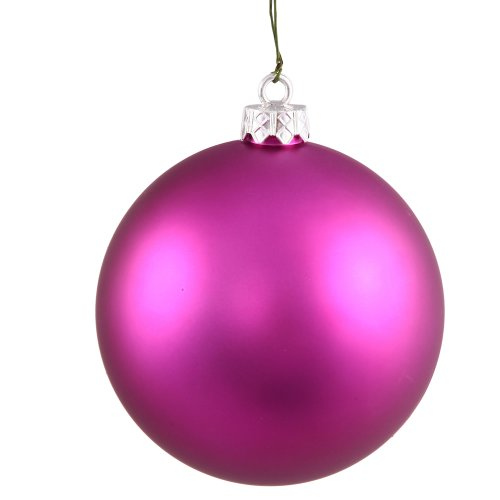 Vickerman Matte Finish Seamless Shatterproof Christmas Ball Ornament, UV Resistant with Drilled Cap, 10″, Magenta