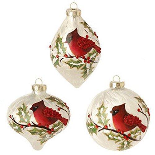 RAZ Imports- 4 Inch Cardinal And Holly Christmas Tree Ornaments – 1 Ball, 1 Kismet and 1 Finial – Set of 3
