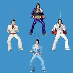 Kurt Adler Set of 4 Elvis Jumpsuit Ornaments