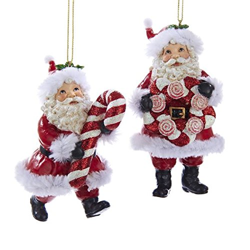 Kurt Adler Resin Traditional Santa with Candy Cane Ornament – 2 Styles – C8951