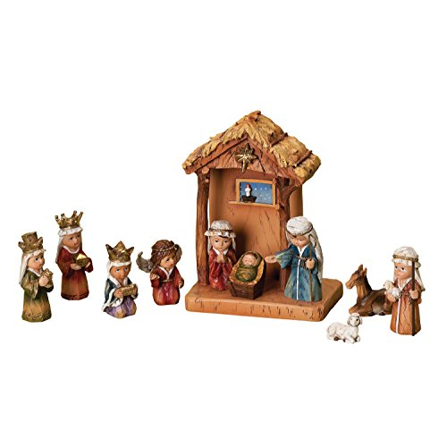 WoodWorks 11-Piece Nativity Set Featuring Children as The Holy Family an Angel, a Shepherd with Sheep and 3 Kings, 8-Inch