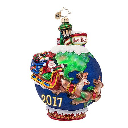 Christopher Radko Midnight Trip Santa 2017 Christmas Ornament