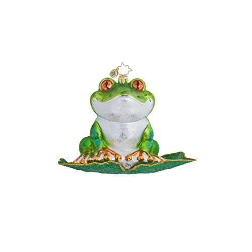 Christopher Radko Glass At the Hop Green Frog Christmas Ornament #1016441