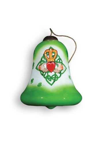 Ne'Qwa Art Irish Claddagh – Glass Ornament Hand-Painted Reverse Painting Distinctive 495-NEQ