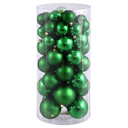 Vickerman 24716 – 1.5″ – 2″ Green Shiny Matte Ball Christmas Tree Ornament (50 pack) (N112204A)