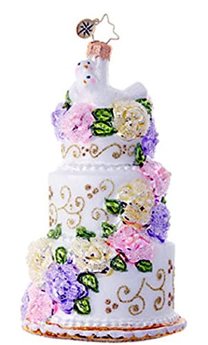 Christopher Radko Newlywed Sweets Wedding Cake Glass Ornament